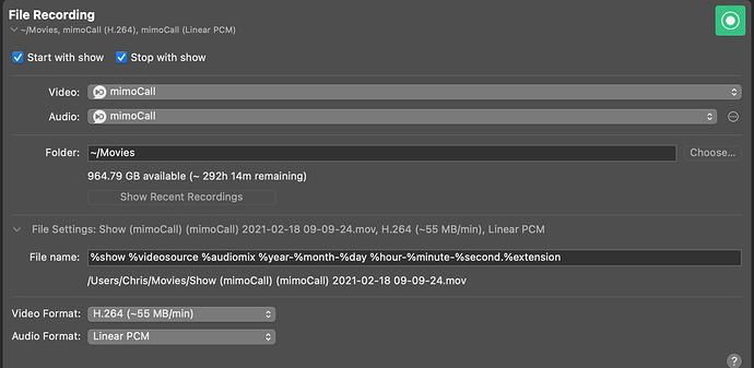 Screenshot of the File Recording output desitination